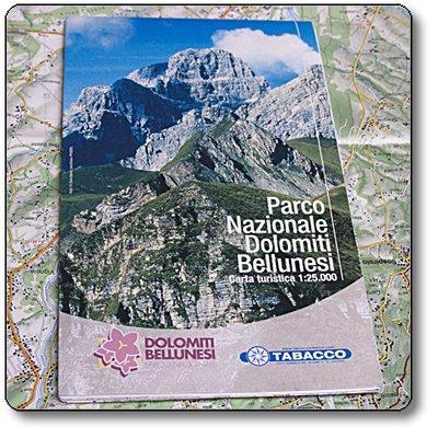 Cartina turistica 1:25000 del Parco Nazionale Dolomiti Bellunesi