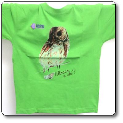 """Maglietta bimbo """"allocco"""" colore verde Parco Nazionale Dolomiti Bellunesi"""
