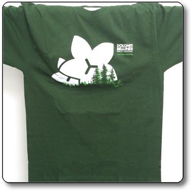 T-shirt unisex colore verde scuro - Parco Nazionale Dolomiti Bellunesi