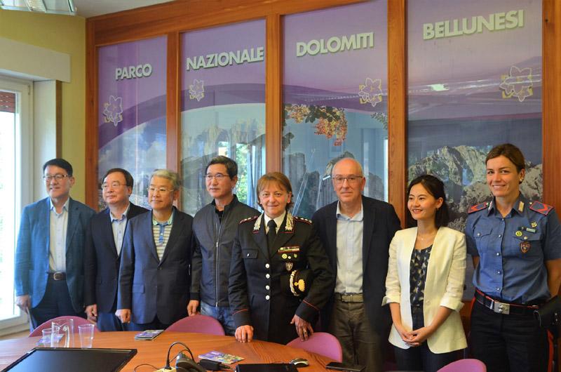 Delegazione della Repubblica di Corea in visita al Parco Nazionale Dolomiti Bellunesi